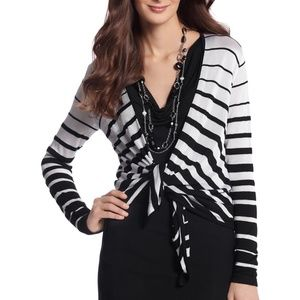 White House Black Market Striped Coverup Sweater